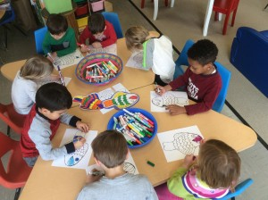 Four-year-olds developing handwriting skills