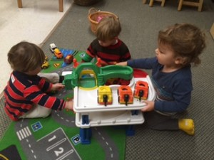 Two-year-olds busy at work